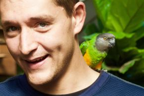 Guy with conure